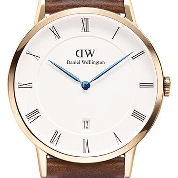 Daniel Wellington 'Dapper St. Mawes' Leather Strap Watch, 38mm - Brown/ Rose Gold