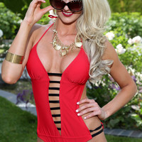 Red Black Strappy Accent Sexy Monokini