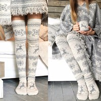 Women Christmas Thigh High Long Stockings Knit Over Knee Socks Xmas 38