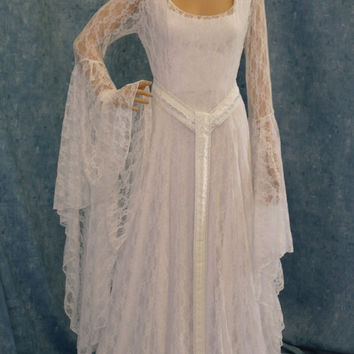 Galadriel white lace dress LOTR hobbit Renaissance medieval handfasting wedding custom made