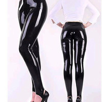 Hot Sale! Latex Foot Trousers Rubber Fetish Pants Close Fitting For Adult Plus Size Hot Sale Women's Skinny Leggings