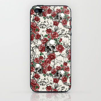 Skulls and Roses or Les Fleurs du Mal iPhone & iPod Skin by Paula Belle Flores