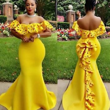 Yellow Ruffle Cut Out Bandeau Off Shoulder Open Back Mermaid Maxi Dress