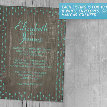 Aqua Rustic Country Barn Wood Wedding Invitations | Invites | Invitation Cards