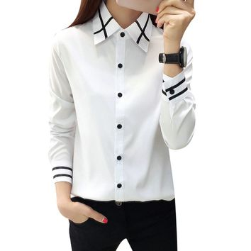 2018 Autumn Blusas Fashion Women Bow Tie White Blouses Casual Long Sleeves Turn Down Collar Shirt Lady Tops Chiffon Shirts F1