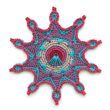 "Crochet Coaster PATTERN ""Estella"" also in Peacock Style - Original Design by TheCurioCraftsRoom"