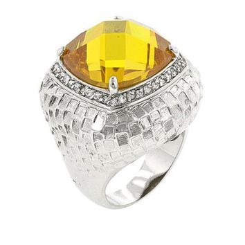 Citrine Dome Cocktail Ring