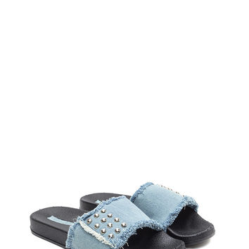 Fray It Forward Studded Denim Sandals GoJane.com