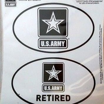 Army RETIRED 2-Pack EURO STYLE Auto Decals Sticker United States US Military