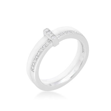 Lafi White Ceramic Cocktail Band Ring   .3 Carat   Cubic Zirconia    Sterling Silver
