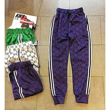Gucci Trending Women Men Stylish More Logo Print Two Stripe Elastic Waistband Sport Pants Trousers Sweatpants Purple