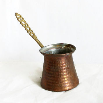Vintage rustic copper Turkish COFFEE pot, Retired cezve, hammered, campfire cooking, stove top, Oriental metal crafts, dried flower vase