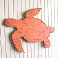 Sea Turtle Sign Small Swimming Wooden Sign Beach Coastal Ocean Coral
