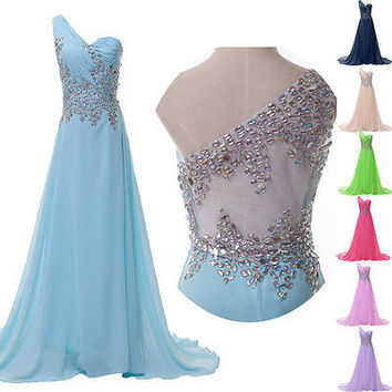 Beaded Bridesmaid Party Prom Evening Formal Dresses Ballgown 2 4 6 8 10 12 14 16