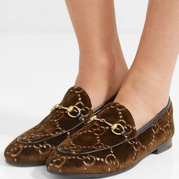 GUCCI Jordaan horsebit-detailed leather-trimmed logo-jacquard loafers