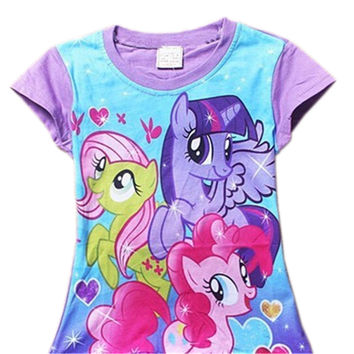 Baby Girls Summer T Shirt Girl Cute My Little Pony T-Shirt Kids Cotton Tee Tops 2017 New Arrival 35D