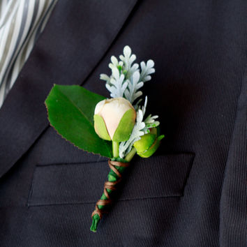 Silk Apricot and Ivory Rustic Boutonniere