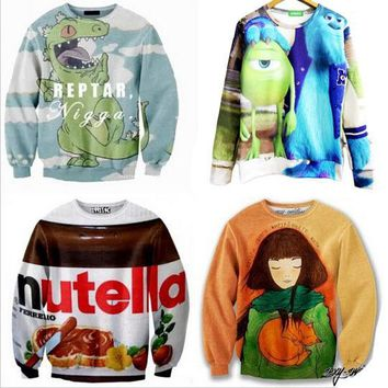 Harejuku Nutella beef crocodile girl cat Food Funny 3D Print cartoon Sweatshirt Plus Size Galaxy Hoodies feminino moletom