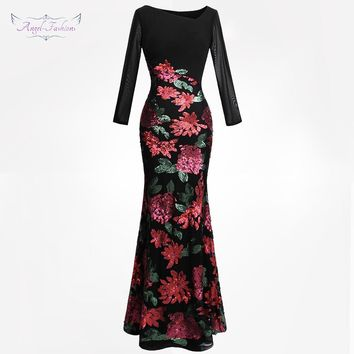 Angel-fashions Women's Long Sleeves Embroidery Sequin Flowers Evening Dress Black 396