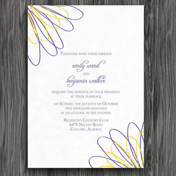 Wedding Invitation - Yellow and Purple Printable Wedding Invite