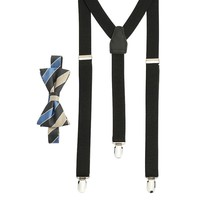 Wembley Highland Park Striped Bow Tie & Suspender Set -Men, Size: One Size (Grey)