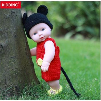 Newborn Reborn Dolls 12'' Handmade Baby Silicone Vinyl 30CM With Black Hat and Red Clothes