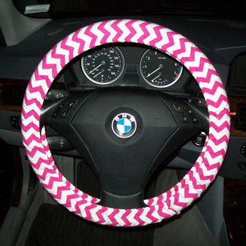 Fuchsia Chevron Steering Wheel Cover