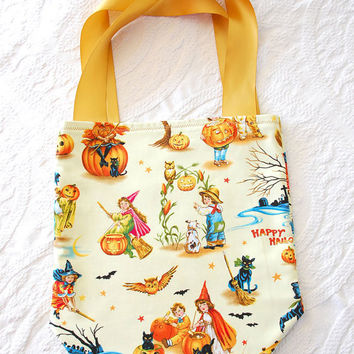 Halloween Trick or Treat Tote Bag in Vintage Children's Retro Pastel Cotton Print