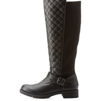 Black Stretch-Back Quilted Riding Boots by Charlotte Russe