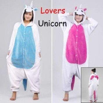 ca DCCKTM4 New Unicorn Unisex Lovers Flannel Hooded Pajamas Adults Cosplay Cartoon Cute Animal Onesuits  Sleepwear Suit Hoodies Unicorn [8403193095]