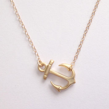 Sweet anchor necklace, gold sideway anchor pendant jewelry, summer, beach necklace