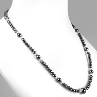 80 cts Black diamond faceted beads necklace-CERTIFIED