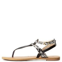 Black Qupid Print Block T-Strap Thong Sandals by Charlotte Russe