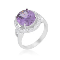 Amethyst Halo Cocktail Ring, size : 10