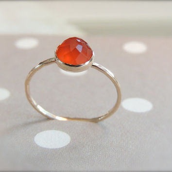 Carnelian Gold Ring, Orange Carnelian Ring, Stacking Ring, Delicate Gemstone Jewelry, Stack Ring, Skinny Stacking Ring, Gift for Her