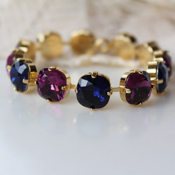 Navy and Amethyst Tennis Bracelet, Swarovski Crystal, Rhinestone Bracelet, Ink Blue and Purple Bracelet,
