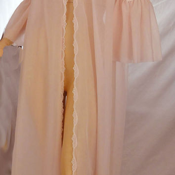Pink Dressing Gown Vintage 1960s Robe Sheer Nylon Negligee Puffy Sleeves Lace Trim Warner's
