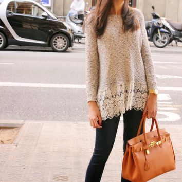 Khaki Lace Trim  Long Sleeve Shirt