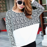 White Diamond Print Long Sleeve Top