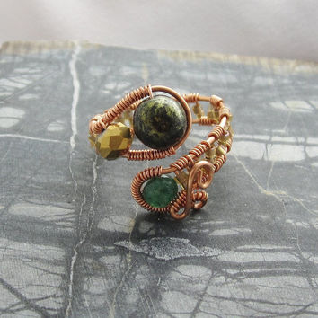 Adjustable Ring, Copper Wire Ring, Copper Bead Ring, Wire Wrap Jewelry