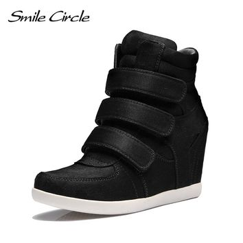 Smile Circle 2018 Spring Wedges Sneakers Women Fashion High-top Platform Shoes High heels Casual Shoes For Women C712B38