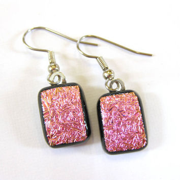 Sparkly Pink Dichroic Earrings, Dangle Glass Earrings, Jewelry - Hot, Hot Pink  by mysassyglass