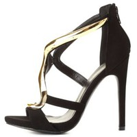 Qupid Curvy Gold-Plated Strappy Heels by Charlotte Russe