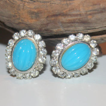 Exquisite Vintage Christian Dior Blue Glass and Rhinestone Clip On Earrings