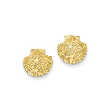 13mm Scalloped Shell Post Earrings in 14k Yellow Gold