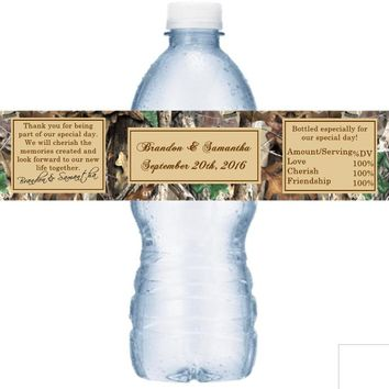 21 Camouflage Wedding Water Bottle Labels