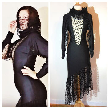 Catwoman Dress Lace Peekaboo Long Sleeve Fitted Sexy Lingerie Unusual Unique Extra Long Turtleneck Cosplay Goth Black Dress size Medium