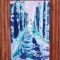 Abstract art original Cityscape acrylic painting on wooden board signed and dated