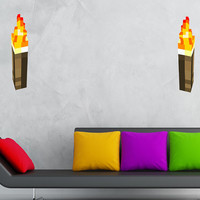 Minecraft Torch HUGE Peel and Stick REUSEABLE Wall Sticker Wall Decal Wall Mural Wall Art
