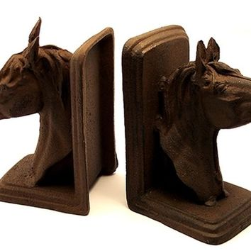 Cast Iron Rust Horse Head Bookends AS IS